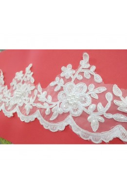 50 cm white Lace organza with pearls and grains of rice and sequins-high 11 cm