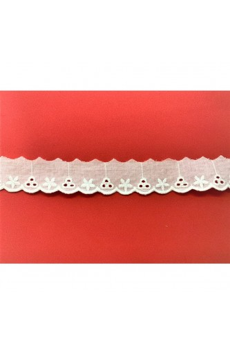 Lace sangallo lace scalloped white with a height of 25 mm