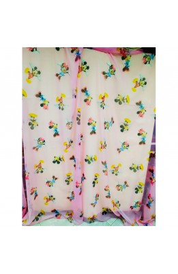 Blind fabric Veil Pink Mickey mouse and Minnie mouse High 280 Cm
