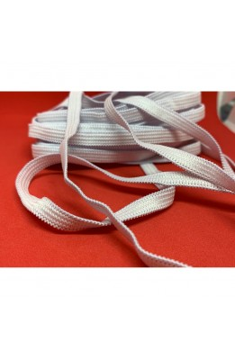 5 Meters Braid Elastic Spring Braid-Bordered White High 7 Mm