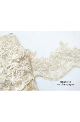 50 Cm Leather Trimmings Embroidered Lace Ivory Organza Flower, Pearls, Beans Sequins High 11 Cm