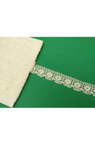 Lace pure cotton white tip top, 15 mm