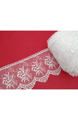 23 , 50 MT Cuts Stok Lace organza high 105 mm embroidered white tip flower design with leaf