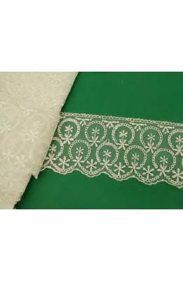 Braid lace organza embroidered toe drawing a circle with gleam cream high 6 cm