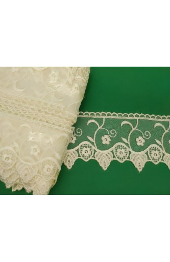 13 MT Cutting stok Lace organza high 110 mm embroidered cream partition geometric design band