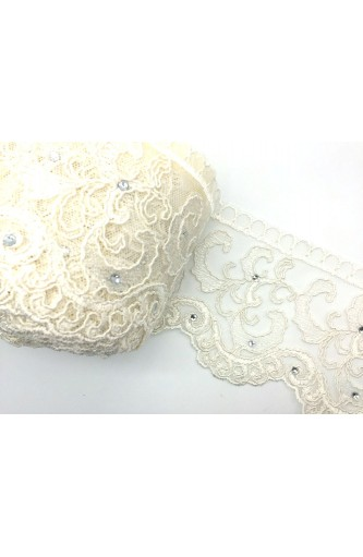 Trimming Lace, Tulle Lace Rebrodè Rhinestone High 12 Cm