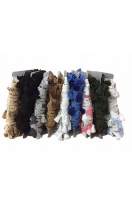 Trimmings fringe tassels in a colorful wool military blue beige red high 4 cm