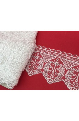 Lace Tulle lace holy basic embroidered white cross with silver lurex spiga high 11 cm