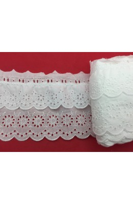 Sangallo lace Cream Shirred With toggle buttons, Satin Flowers, 9 Cm High