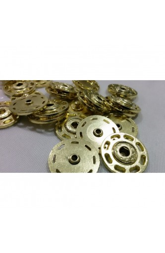 Pressure buttons metal sewing light gold 25 mm
