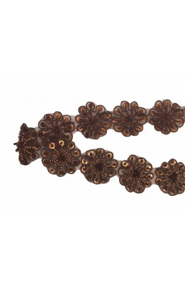 50 cm leather Trimmings flowers beads and sequins sewn on-high bronze 35 mm