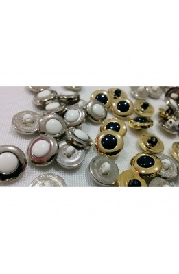 Buttons, plastic, enameled blue and white with eyelet silver and gold line 20