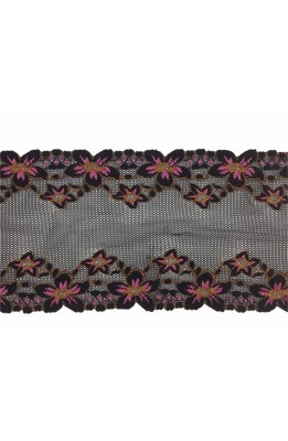 Embroidered lace elastic partition wall pink flowers with salmon and black base for the upper 14 cm