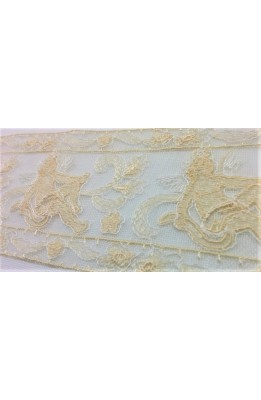 Lace through tulle embroidered ecru and cream angel design high 7 cm