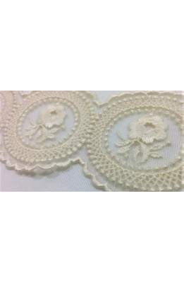 Lace cotton round tulle embroidered cream top 6 cm with flower