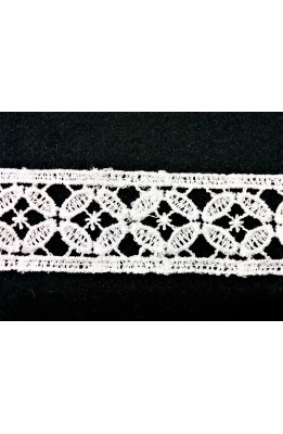 Braid, Macramé lace embroidered berth, white model flower 4-cm high cut from 8.80 meters