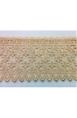 Macrame lace tip-high beige dark, high 9 cm design flowers
