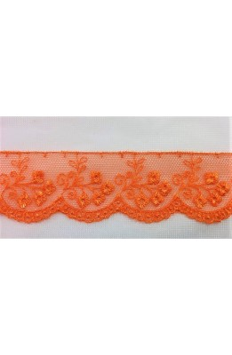 1.40 m Trimmings tulle embroidered scalloped flowers orange color high 3 cm