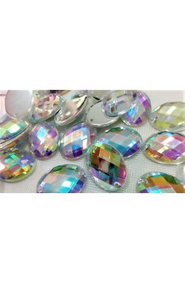 3 Stones sew-on color borealis oval 13x18 mm two holes