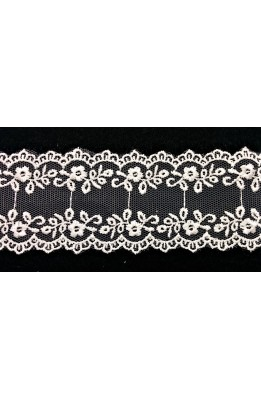 TRIMMINGS PARTITION TULLE FLOWERS SCALLOPED CREAM WIDE, 45 MM HIGH