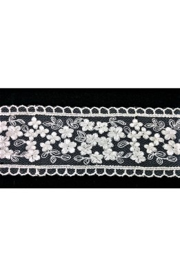 BRAID, LACE THROUGH TULLE FLOWERS, SCALLOPED ARCHES, CREAM, 50 MM HIGH