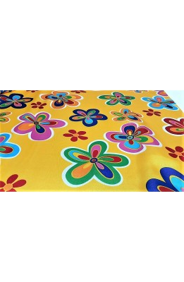 Fabric satin carnival print flower large and small high 150 cm