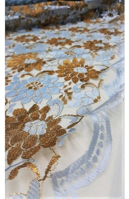 Fabric with lace border ritagliabile scalloped two-tone design rose flowers gold high 150 cm