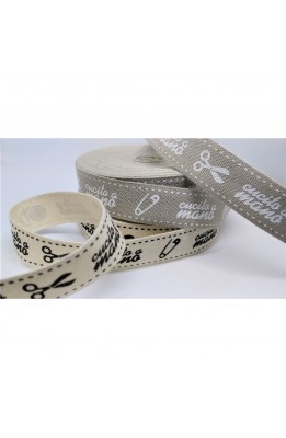 Ribbon tape, printed cotton hand-made-high (15 mm